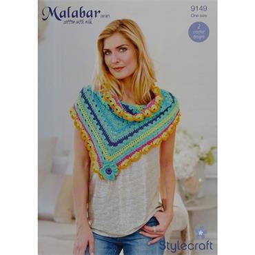 Stylecraft Pattern #9149 Crochet Shawls in Malabar aran