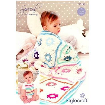 Stylecraft Pattern #9156 Crochet Daisy Blanket & Baby Bib in DK