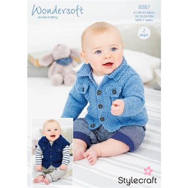 Stylecraft Pattern #9387 Cardigan & Waistcoat in Wondersoft DK