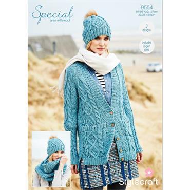 Stylecraft Pattern #9554 Cardigan, Snood & Hat in Special Aran with Wool