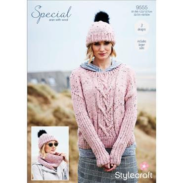 Stylecraft Pattern #9555 Sweater, Snood & Hat in Special Aran with Wool