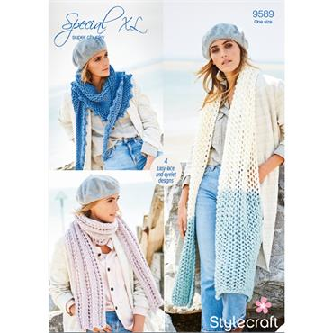 Pattern #9589 Scarves & Shawls in Special XL Super Chunky ***