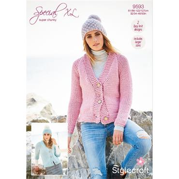 Pattern #9593 Ladies Cardigans in Special XL Super Chunky