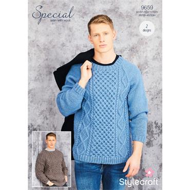 Pattern #9659 Mens Sweaters in Special Aran with Wool