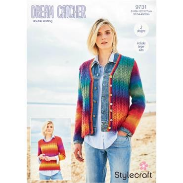 Pattern #9731 Ladies Jumper and Cardigan Knitted in Dream Catcher DK