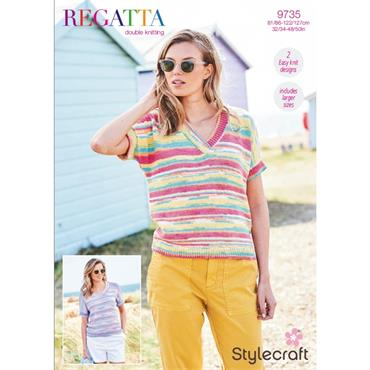 Pattern #9735 Ladies Tops Knitted in Regatta DK