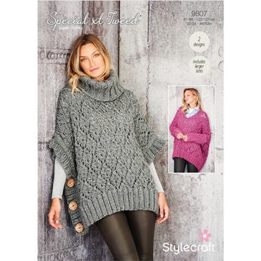 Pattern #9807 Sweater & Poncho in Special XL Tweed Super Chunky