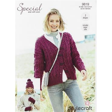 Stylecraft Pattern #9819 Cardigan Hat & Mitts in Special Aran with Wool