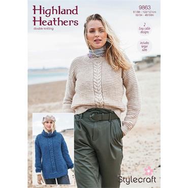 Stylecraft Pattern #9863 Round & Polo Neck Sweaters in Highland Heathers DK