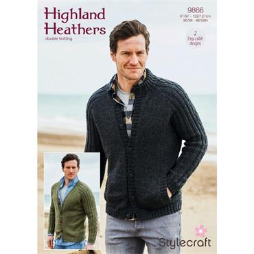 Stylecraft Pattern #9866 Cardigan with Pockets & Cardigan without Pockets in Highland Heathers DK