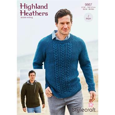 Stylecraft Pattern #9867 Round & V Neck Sweaters in Highland Heathers DK
