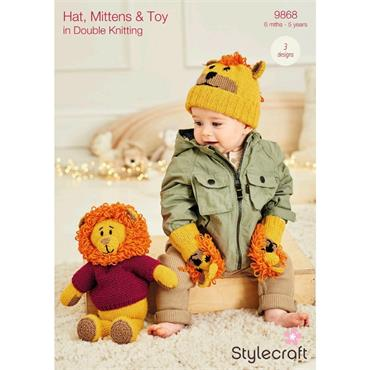 Stylecraft Pattern #9868 Hat, Mittens & Toy in Double Knitting