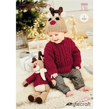 Stylecraft Pattern #9869 Rudolph the Reindeer Toy, Hat & Sweater in DK