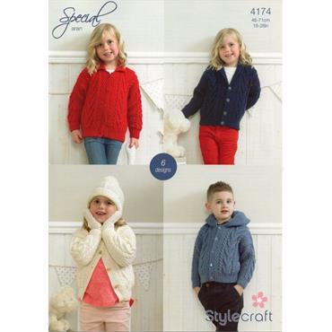 Stylecraft Pattern #4174 Jackets, Cap & Mittens in Special Aran