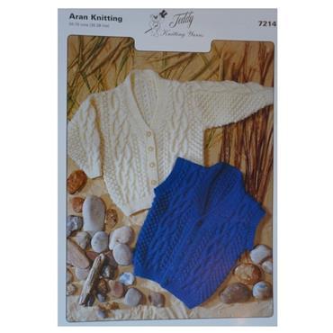 Teddy Pattern #7214 Aran Cardigan & Waistcoat