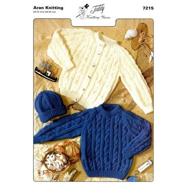 Teddy Pattern #7215 Aran Cardigan, Sweater & Hat