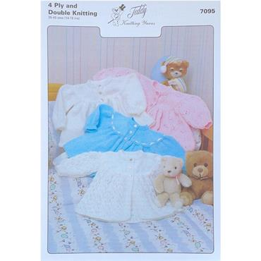 Teddy Pattern #7095 Matinee Jackets in Double Knitting & 4 Ply