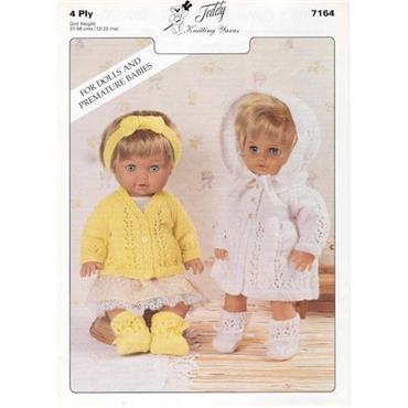 Teddy Pattern #7164 Doll's/Premature Baby Cardigan & Matinee Sets in 4 Ply