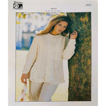 Pattern #2422 Ladies Sweater Knitted in Aran