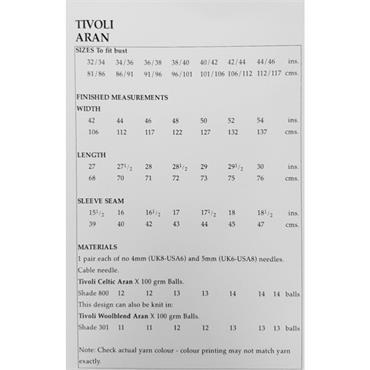 Tivoli Pattern #2440 Unisex Traditional Aran Sweater