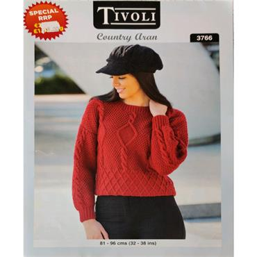 Pattern #3766 Ladies Diamond Sweater Knitted in Country Aran