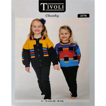 Pattern #3776 Girls Sweater and Jacket Knitted in Chunky