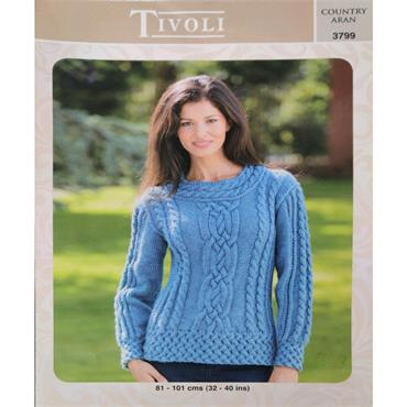 Pattern #3799 Ladies Sweater Knitted in Country Aran