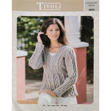 Pattern #3803 Ladies Sweater Knitted in Country Aran