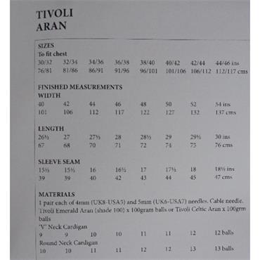 Tivoli Pattern #3864 Traditional Aran Jackets