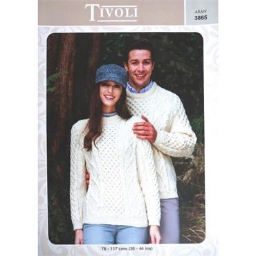 Tivoli Pattern #3865 Traditional IRISH Aran Sweaters