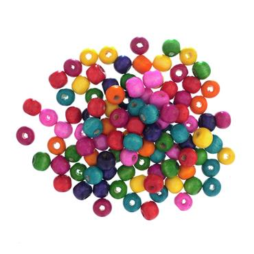 Trimits 10mm Wooden Beads - 15g Bag of Assorted Colours