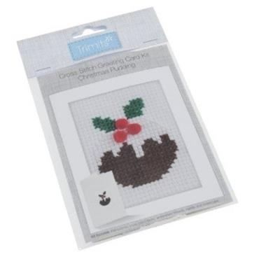 Trimits - Cross Stitch Christmas Card Kit - Christmas Pudding