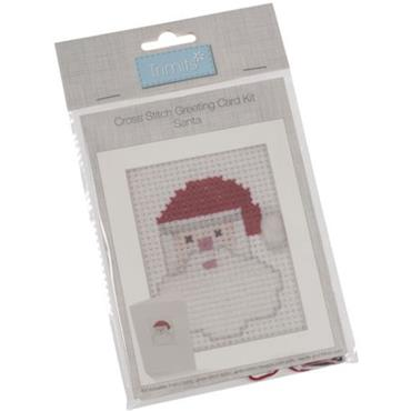 Trimits - Cross Stitch Christmas Card Kit - Santa