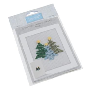 Trimits - Cross Stitch Christmas Card Kit - Christmas Trees ***
