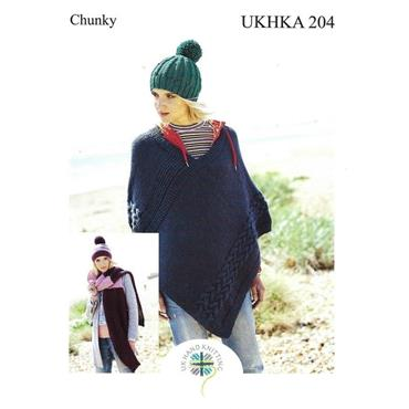 UKHKA Pattern #204 Poncho, Hat & Scarf in Chunky