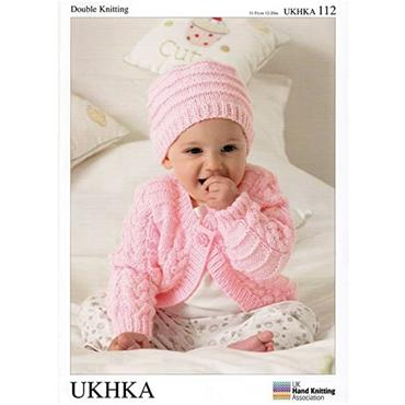 UKHKA Pattern #112 Baby Cardigans, Hat & Blanket in Double Knitting