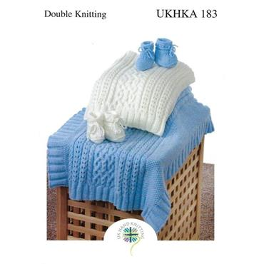 UKHKA Pattern #183 Cable Blankets & Bootees DK