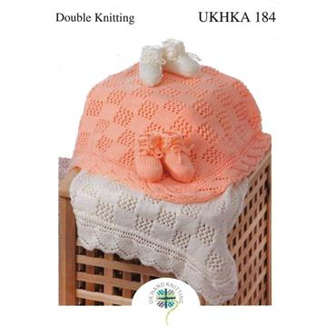 UKHKA Pattern #184 Lace Blanket & Bootees DK