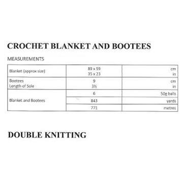 UKHKA Pattern #186 Crochet Blanket & Bootees DK