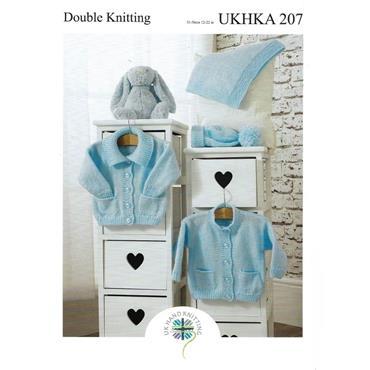 Pattern #207 Caridgan, Hat & Blanket Knitted in DK