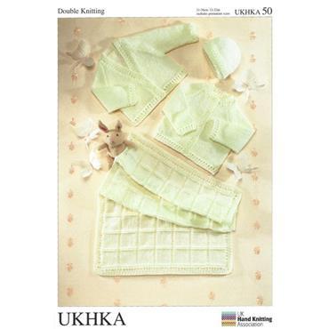 UKHKA Pattern #50 Blanket, Cardigans & Hat in DK