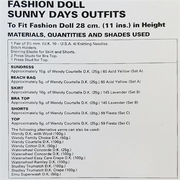 Wendy Pattern #4633 Doll Outfits in DK