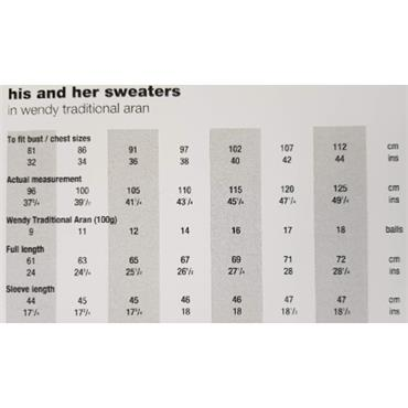 Wendy Pattern #5701 His & Hers Aran Sweaters
