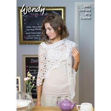 Wendy Pattern #5885 Crochet Motif Shawl in 4ply  (161cm x 78cm)