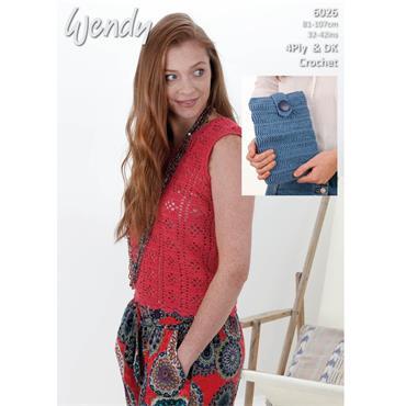 Wendy Pattern #6025 Crochet Lacy Top & Tablet Case in 4ply