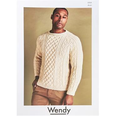 Wendy Pattern #6164 Men's Aran Sweater