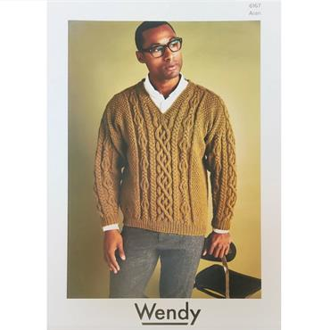 Wendy Pattern #6167 Men's Aran V-Neck Sweater