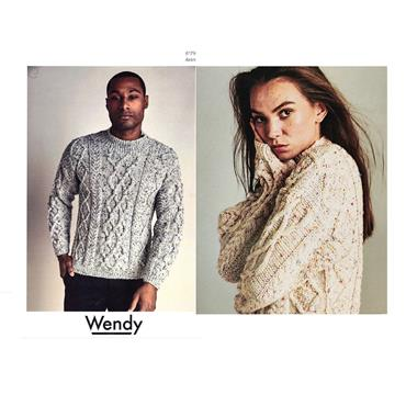 Wendy Pattern #6179 Unisex Aran Cable Sweater