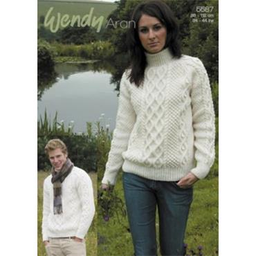 Wendy Pattern #5587 His & Hers Double Cable Sweater in Aran with Wool