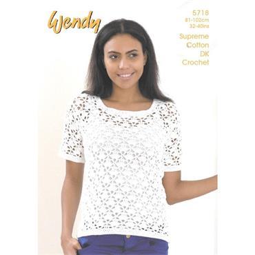 Wendy Crochet Pattern #5718 Short Sleeve & Sleeveless Tops Cotton DK